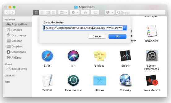 在Finder中手動刪除Mac Mail中的附件