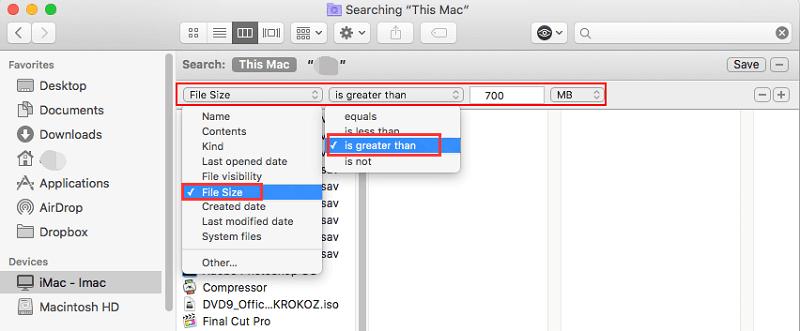 在Finder中在Mac上查找大文件