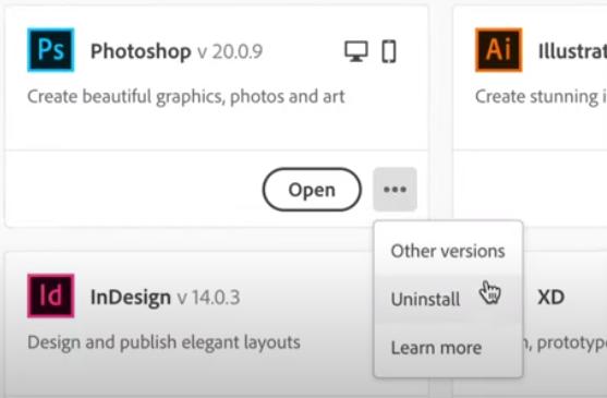 從Adobe Creative Cloud卸載Photoshop
