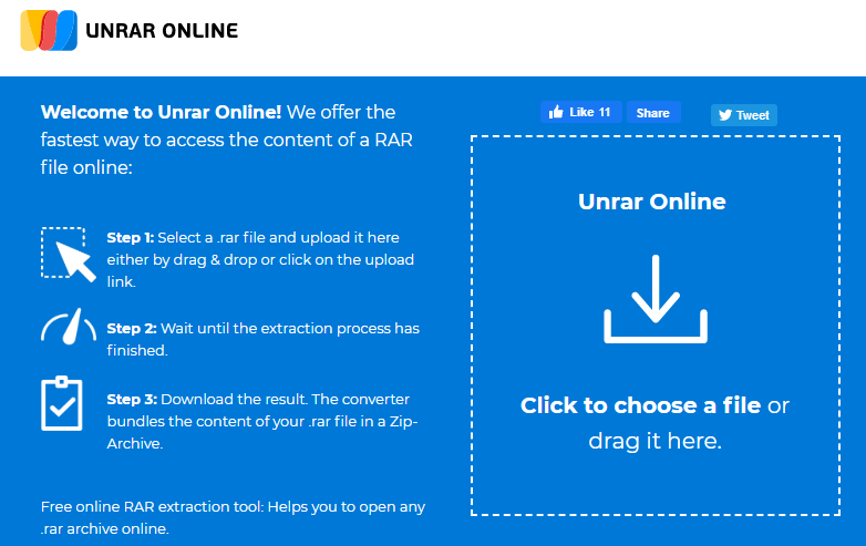 使用UNRAR Online在Mac上打開RAR文件